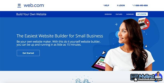 Ulasan Website Builder Web.com: halaman depan.